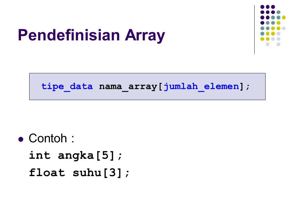 tipe_data nama_array[jumlah_elemen];